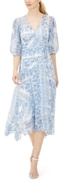 Calvin Klein Bandana-Print Balloon-Sleeve Dress