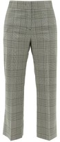 MSGM Cropped Houndstooth-check Wool Trousers - Womens - Black White