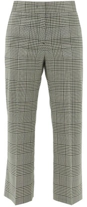 MSGM Cropped Houndstooth-check Wool Trousers - Black White
