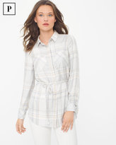 White House Black Market Petite Belted Plaid Shirt