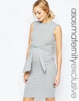 Asos Gray Sleeveless Rib Body-Conscious Dress with Tie