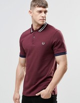Fred Perry Polo Shirt With Bomber Stripe Slim Fit In Red