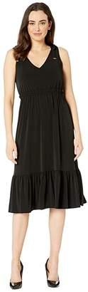 MICHAEL Michael Kors Tie Shoulder Midi Dress (Black) Women's Clothing