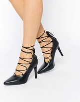 Senso Roxi II Black Leather Ghillie Heeled Pumps