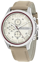Giorgio Armani Exchange Taupe AX2185 Men's Beige Leather and Stainless Steel Chronograph Watch
