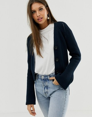 Asos Design DESIGN cropped boyfriend cardigan in rib-Navy
