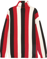MSGM Striped Wool-blend Turtleneck Sweater - Red