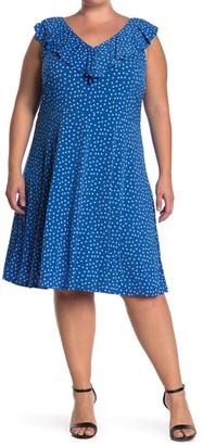Leota Chloe Polka Dot Ruffle Dress