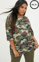 PrettyLittleThing Plus Green Camo Ribbed Oversized Tee