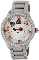 Betsey Johnson Women's Skull Crystal Accented Bracelet Watch