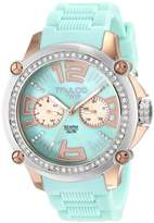 Mulco Women's MW2-28050S-099 Crystal-Accented Stainless Steel Watch with Blue Silicone Band
