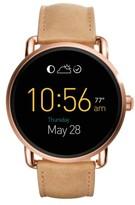 Women's Fossil Q Wander Leather Strap Digital Smart Watch, 45Mm