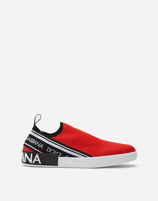 Dolce & Gabbana Portofino Slip-On Sneakers In Mesh