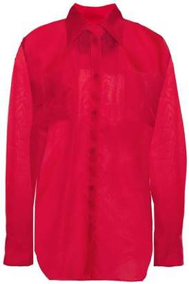 MSGM Appliqued Silk-organza Shirt
