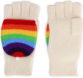 Madeleine Thompson Ribbed Striped Wool And Cashmere-blend Fingerless Gloves