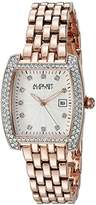 August Steiner Women's AS8180RG Rose Gold Crystal Accented Quartz Watch with White Diamond Dial and Rose Gold Bracelet