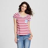 Self Esteem Women's Stripe Ringer Pocket Tee Juniors')