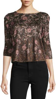 Style&Co. Style & Co. Petite Mixed Floral Animal-Print Top