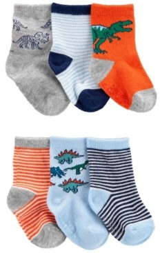 Carter's Baby Boys 6-Pack Dino Crew Socks