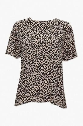 Forever 21 Leopard Flounce-Sleeve Top