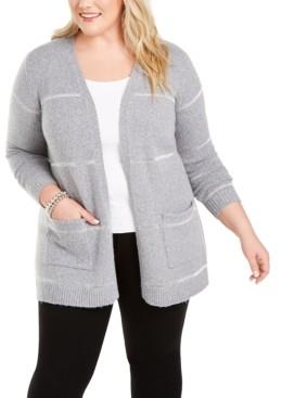 Belldini Plus Size Metallic-Stripe Cardigan Sweater