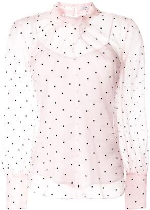 Erdem Fayola polka dot-flocked blouse