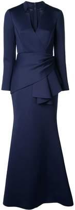 Badgley Mischka draped sash waist dress