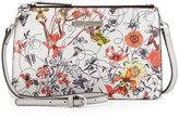 Charles Jourdan Wood Floral-Print Leather Crossbody Bag, White/Multicolor