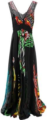 Moschino Monster print evening dress