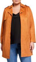 Bagatelle Plus Size Open-Front Faux-Suede Coat