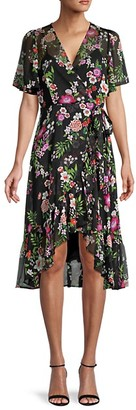 Calvin Klein Floral Chiffon Wrap Dress
