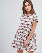 Glamorous Smock Dress With Check Heart Print
