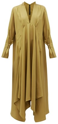 Petar Petrov Alita Tie-neck Silk-twill Dress - Khaki