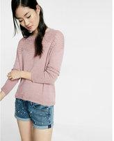Express crochet yoke scoop back pullover sweater
