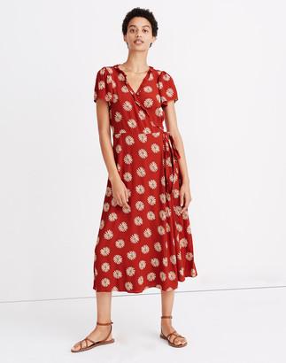 Madewell Ruffle-Edge Wrap Midi Dress in Daisy Daydream