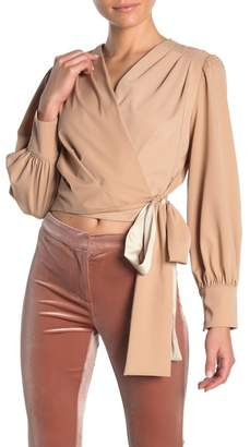 OnTwelfth Side Bow Colorblock Wrap Blouse