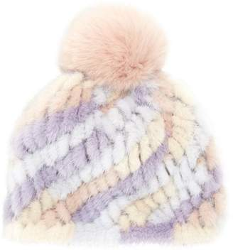 Jocelyn Savage Love Pastel Stripe Mink & Fox Fur Pom-Pom Beanie