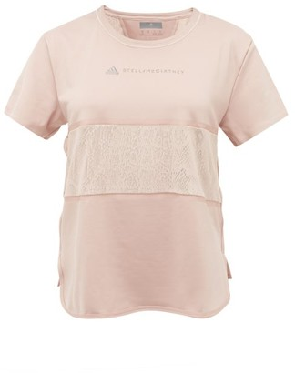 adidas by Stella McCartney Snake-print Panel Technical T-shirt - Womens - Pink Print