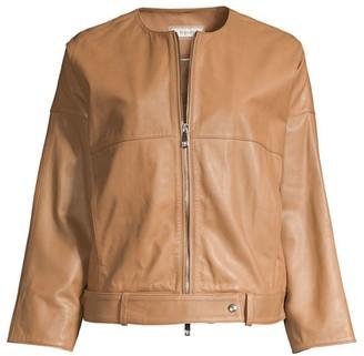 Peserico Cropped Boxy Leather Jacket