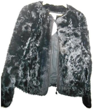 Gerard Darel Black Fur Leather Jacket for Women