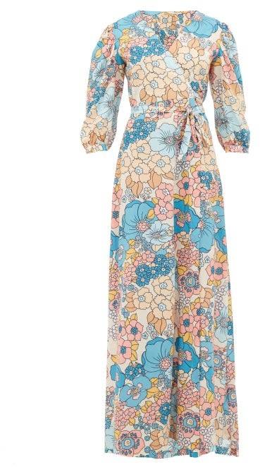 Dodo Bar Or Kate Floral-print Wrap Maxi Dress - Cream Print