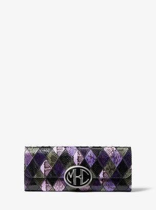Michael Kors Monogramme Patchwork Snakeskin Clutch