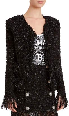Balmain Tweed Fringe-Hem Blazer