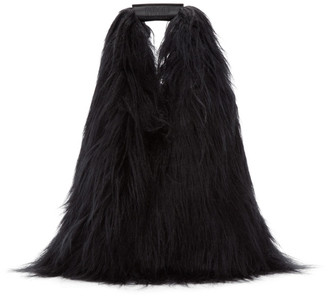 MM6 MAISON MARGIELA Black Faux-Fur Shopping Tote