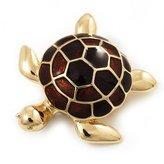 Avalaya Gold Plated Brown Enamel 'Turtle' Brooch