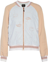 Raoul Embroidered stretch-crepe and tulle bomber jacket