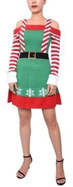 Planet Gold Juniors' Elf Cold-Shoulder Sweater Dress