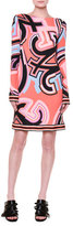 Emilio Pucci Marlyn Long-Sleeve Monogram-Print Dress, Coral/Multi
