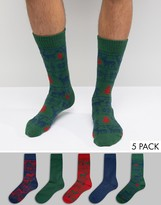 Asos Holidays Boot Socks With Reindeer Fair Isle 5 Pack