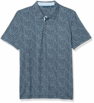 Perry Ellis Men's Pima Cotton Floral Print Short Sleeve Polo Shirt